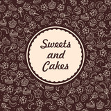 Sweets and cakes vector seamless background