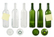 Glass bottle set isolated