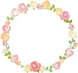 薔薇の円形フレーム
