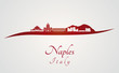Naples skyline in red