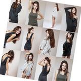 fashion model set studio shots, casual young fashionable woman