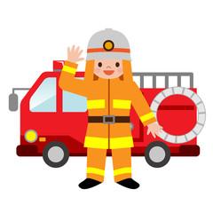 消防車と消防士の格好をした子供