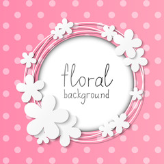 Paper flowers frame on pink background