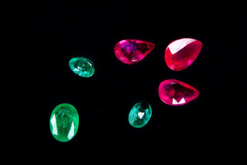 colorful gems isolated