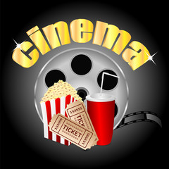 film with popcorn and a drink and movie tickets.cinema backgroun
