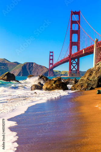 San Francisco Golden Gate Bridge Marshall beach California