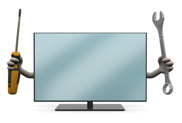 lcd television with arms and tools on hand