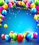 Fototapety Birthday background with flying balloons