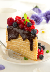 Piece of layer cake with chocolate sauce and berries.