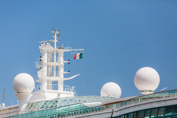 Satellite Equipment on Cruise Ship Under Italian Flag