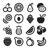 Fototapety Fruit flat icons. Black
