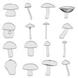 cartoon image of mushrooms (eatable) poster