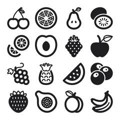 Fruit flat icons. Black