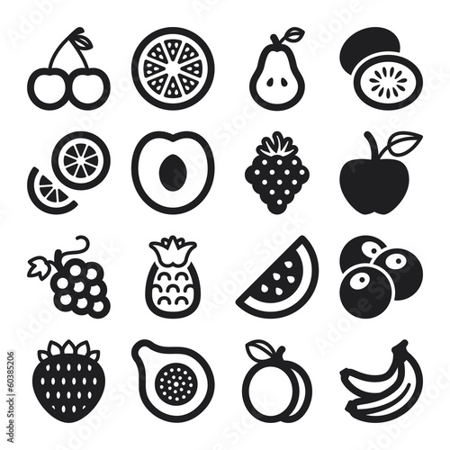 Fruit flat icons. Black
