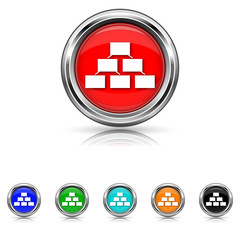 Organizational chart icon - vector set