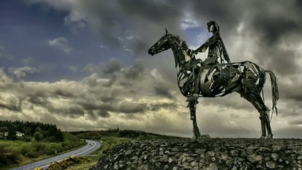 knight on a horse statue, clouds, timelapse, Irenald