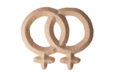 sand sculpture of male gay sign