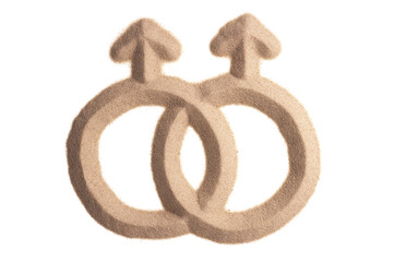 sand sculpture of female gay sign