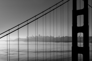 San Francisco Golden Gate Bridge black and white California
