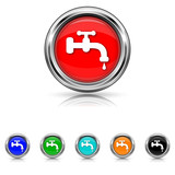 Water tap icon - vector set