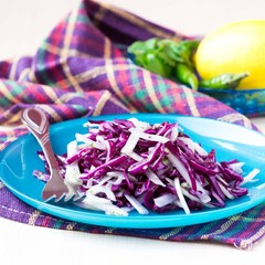 Fresh vegetable salad with red cabbage, kohlrabi, apple