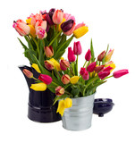 Metal pots with bunch of tulips flowers
