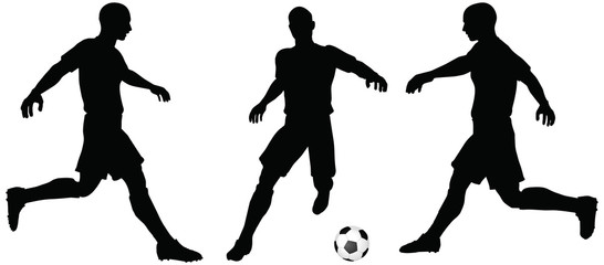 poses of soccer players silhouettes in running position