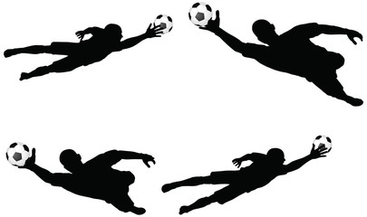 poses of soccer players silhouettes in air jumping position