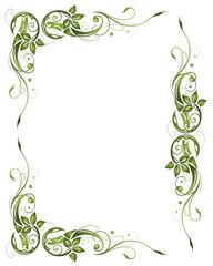 Rahmen, Blumen, vintage, oliv