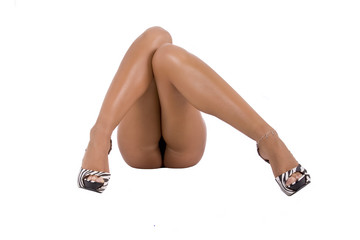 Beautiful, healthy and sexy Feminine Legs, isolated on white.