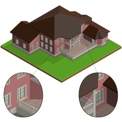Vector isometric villa