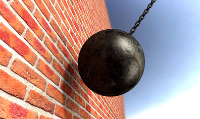 Wrecking Ball Hitting Wall