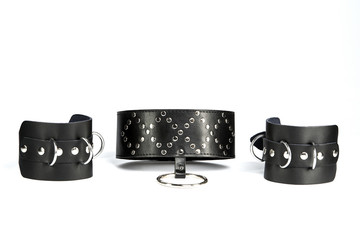 Fetish Hand cuffs and  collar a made of black leather