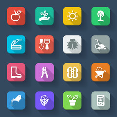 Gardening flat icons. Colorful