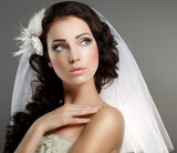 Wedding. Quiet Bride in Classic White Veil Looking Away