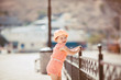 little girl on walk in the summer outdoors