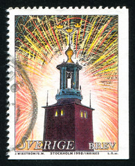 Fireworks over City Hall in Stokholm