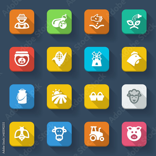 Farming flat icons. Colorful