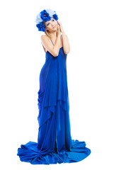 Woman in blue flower crown in chiffon dress over white