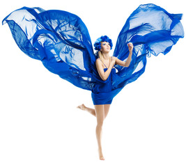 Woman in blue dress wings, waving fluttering fabric, white