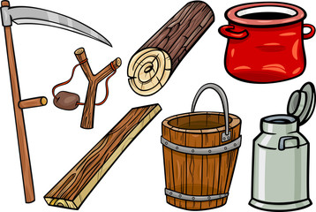 country objects cartoon illustration set