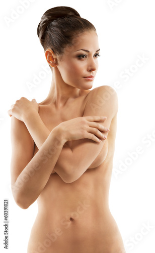 Naked woman beauty,  sensual body, white background