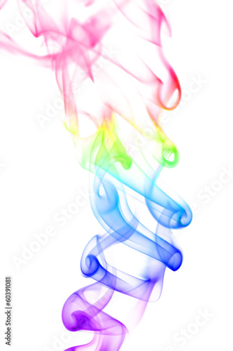 Colored ink and smoke isolated on white abstract pattern