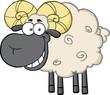 Smiling Black Head Ram Sheep Cartoon Mascot Character