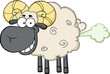 Smiling Black Head Ram Sheep Cartoon Character With Fart Cloud