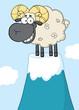 Smiling Ram Sheep Cartoon Character On Top Of A Mountain Peak