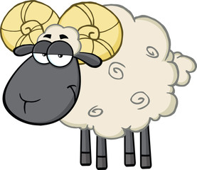 Cute Black Head Ram Sheep Cartoon Mascot Character