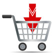 Shopping carts with red arrow