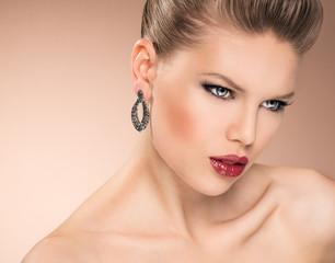 Vogue glamour model portrait. Young beautiful fashion girl