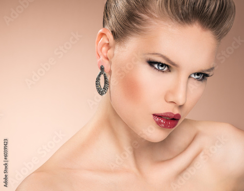Vogue glamour model portrait. Young beautiful fashion girl